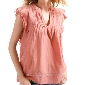 LUCKY BRAND Sleeveless Pintuck Ruffle Blouse Top